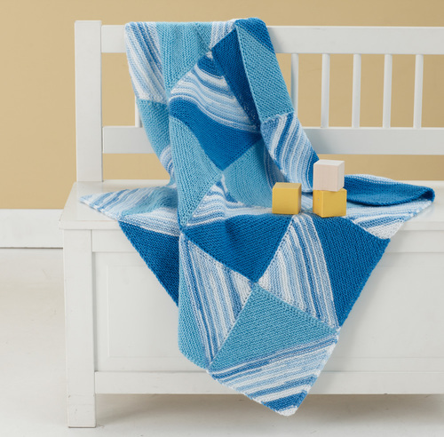 Free Knitting Pattern Mitered Afghan : Many Mitered Baby Blanket AllFreeKnitting.com