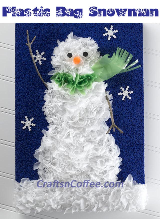 Recycled Plastic Bag Snowman Portrait Favecrafts Com