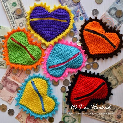 Crochet Heart Coin Purse