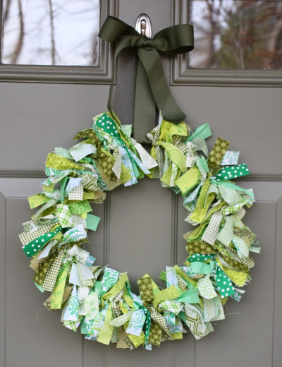 Green Scrappy Rag Wreath