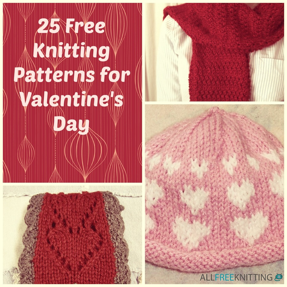 Adding Extra Stitches To My Knitting : 25 Free Knitting Patterns for Valentines Day AllFreeKnitting.com