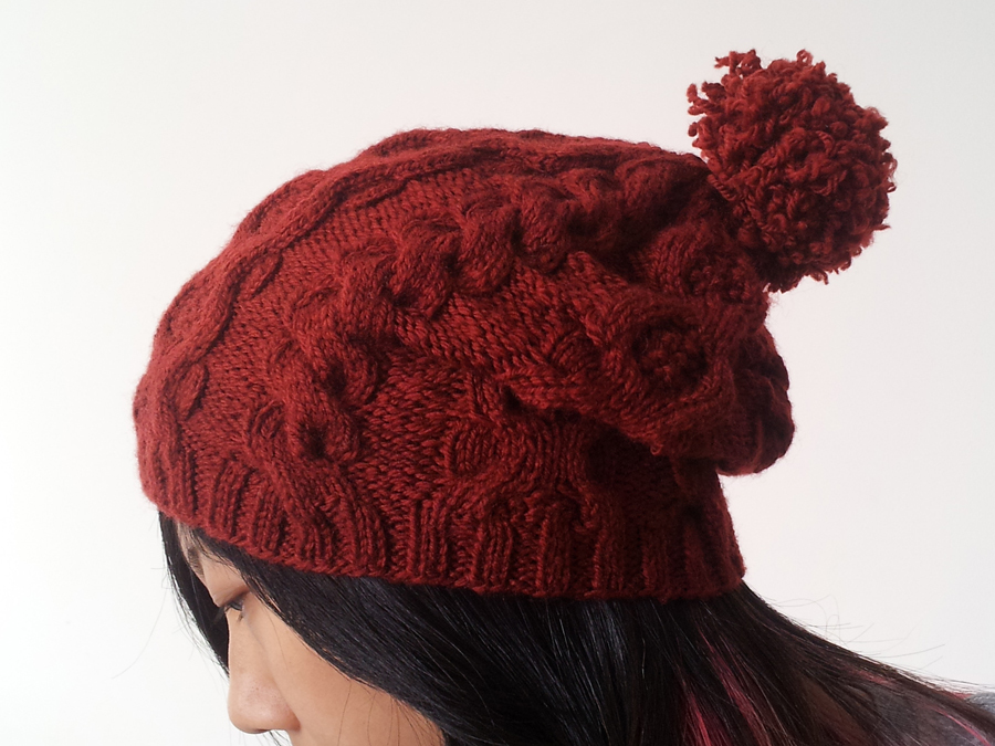 Cabled Slouch Beanie Allfreeknitting Com