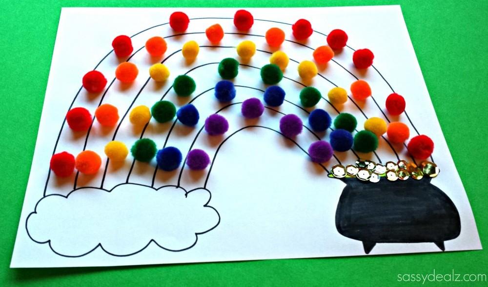 Pom Pom Rainbow Crafts Allfreekidscrafts Com