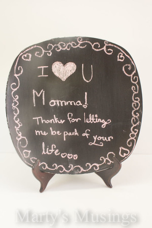 Decorative Chalkboard Paint Plate Mother's Day Craft