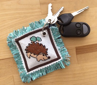 Hedgehog Cross Stitch Pattern Keychain