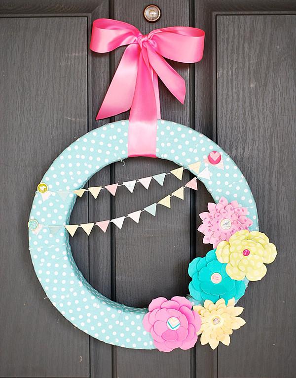 Paper Flowers Wreath For Spring Allfreepapercrafts Com