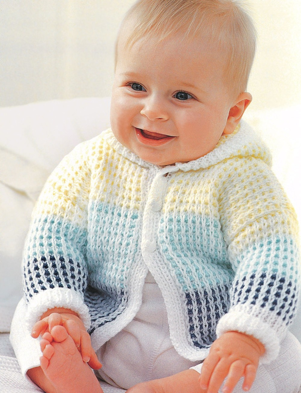 Patons Free Crochet Patterns Babies : Spring Morning Baby Cardigan AllFreeKnitting.com