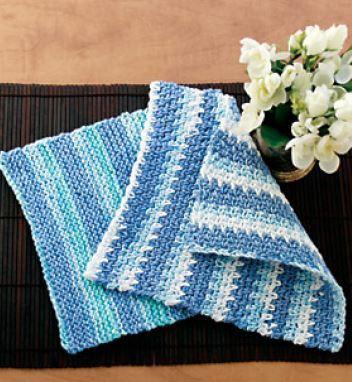 Cotton Knitting Patterns Free : Cotton Stripes Dishcloth AllFreeKnitting.com