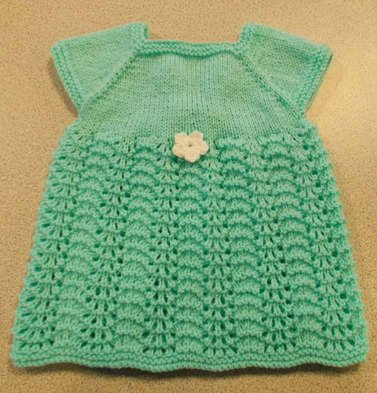 Baby Dress Free Knitting Pattern : Sweet Summer Knit Baby Dress AllFreeKnitting.com