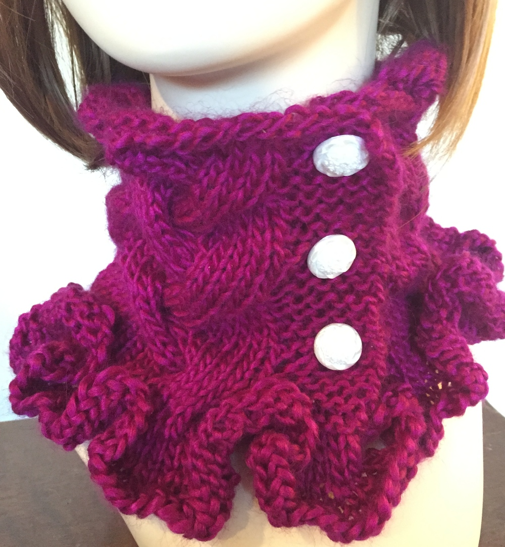 Knitting Patterns For Big Scarves : Raspberry Ruffles Cowl Knitting Pattern FaveCrafts.com