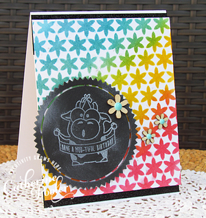 Stenciled Chalkboard Happy Birthday Card