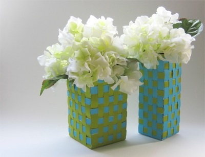 Weave Vases from Milk Cartons