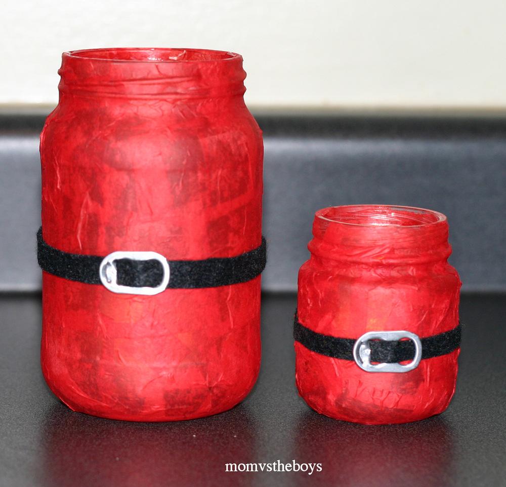 Santa Candles Mason Jar Christmas