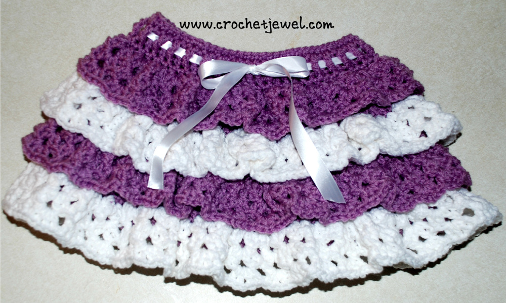 Crochet Stitches Ruffle : Girls Crochet Ruffle Skirt AllFreeCrochet.com