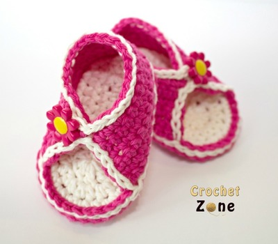 Crochet Baby Toe Sandals Free Pattern : Peek-A-Boo Baby Crochet Sandals AllFreeCrochet.com
