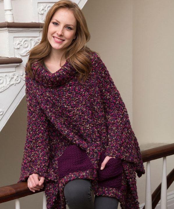 Knitting Pattern Poncho Bulky Yarn : Cozy Pocketed Knit Poncho AllFreeKnitting.com