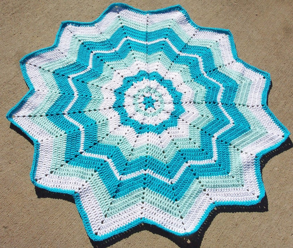 Free Crochet Baby Blanket Ripple Patterns : Beginners Round Ripple AllFreeCrochetAfghanPatterns.com