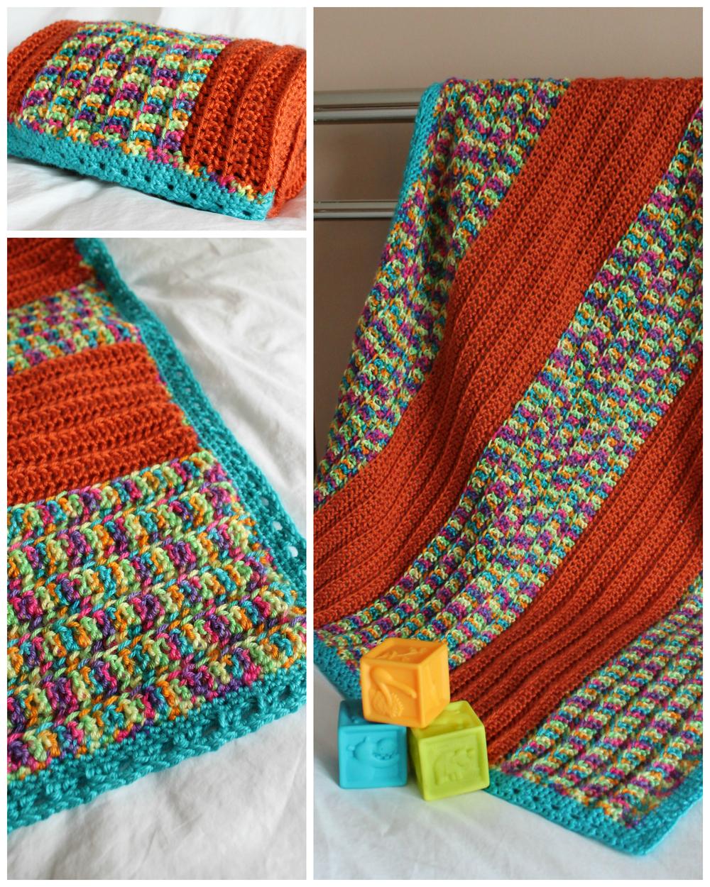 happy stripes crochet baby blanket. Black Bedroom Furniture Sets. Home Design Ideas