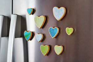 Fabric Scrap Heart Magnets