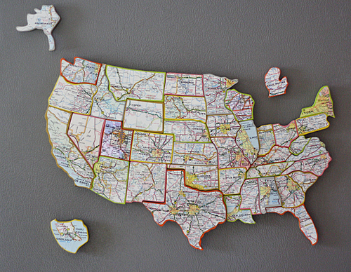 Recycled State Map Magnets