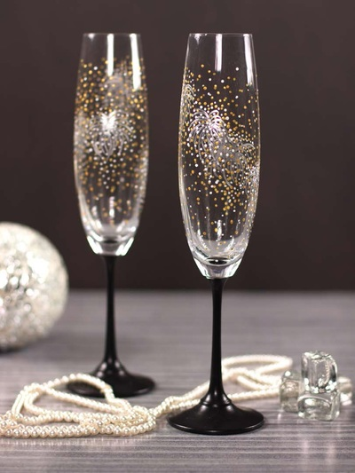 New Year Firework Champagne Flutes