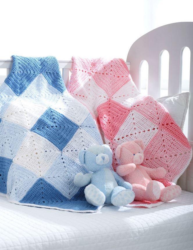 Crochet Baby Blanket Diamond Pattern : Double Diamond Baby Blanket AllFreeCrochet.com