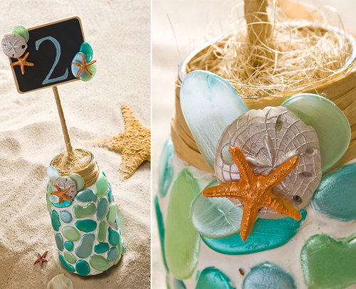 Mason Jar Beach Wedding Table Numbers