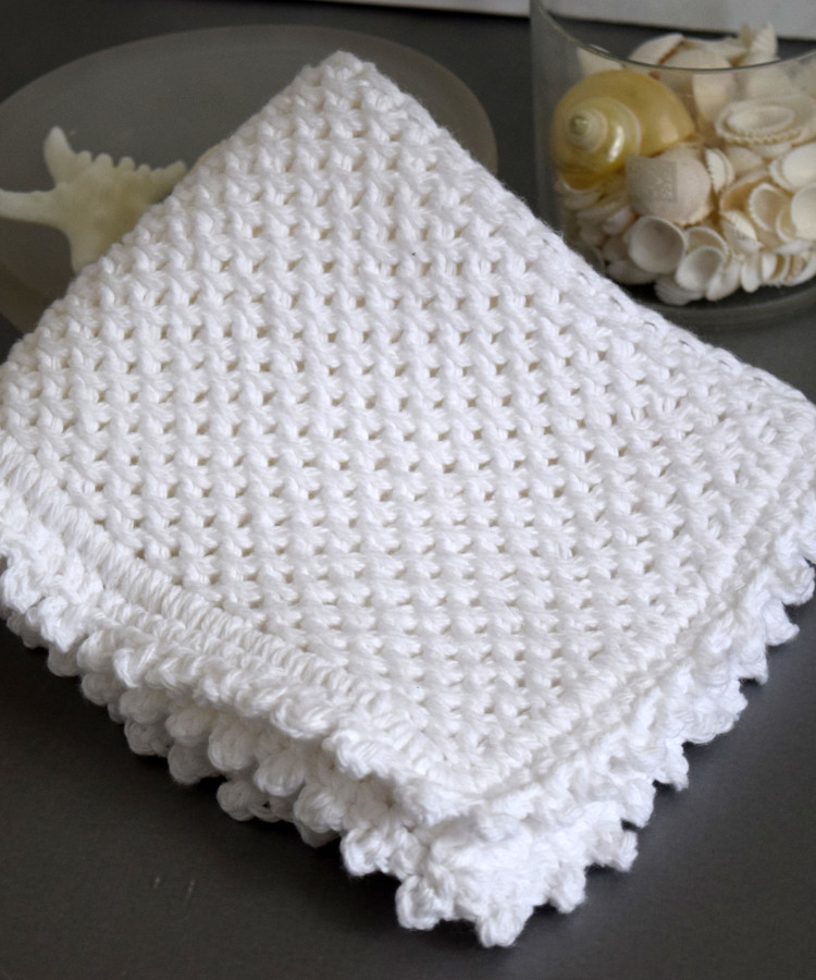 Knitting Edge Stitch Patterns : Picot edge knit dishcloth pattern favecrafts
