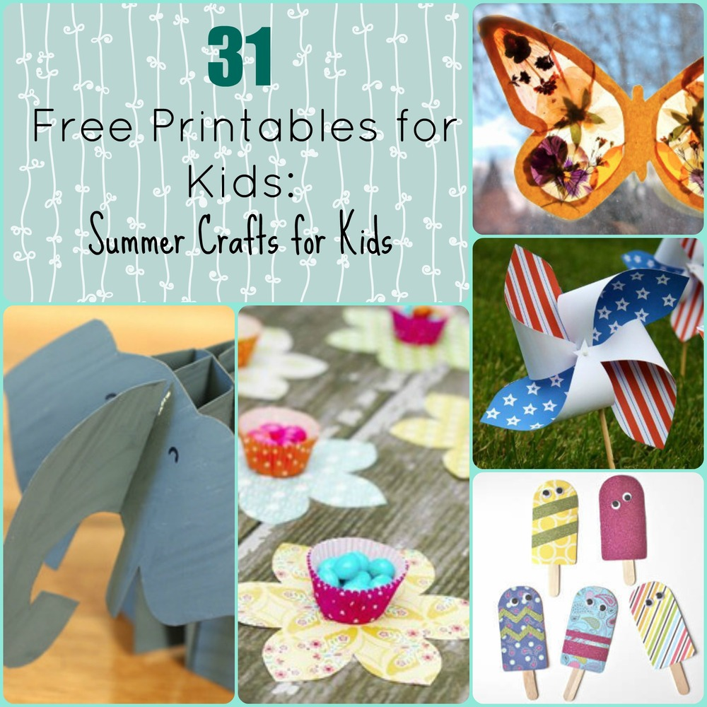 graphic regarding Printable Crafts for Kids titled 31 Totally free Printables for Young children: Summer months Crafts for Little ones
