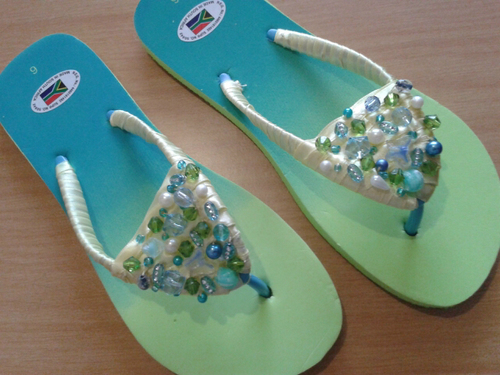Bead and Ribbon Flip Flops