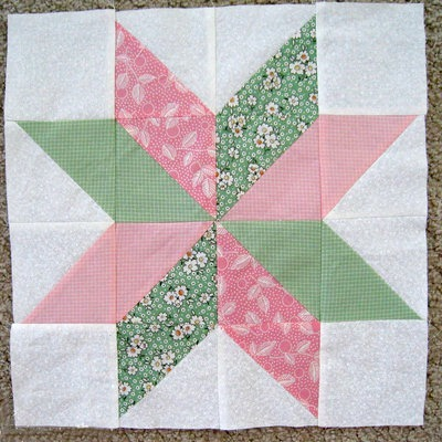 Large Square Block Quilt Patterns : Star Flower Quilt Block FaveQuilts.com