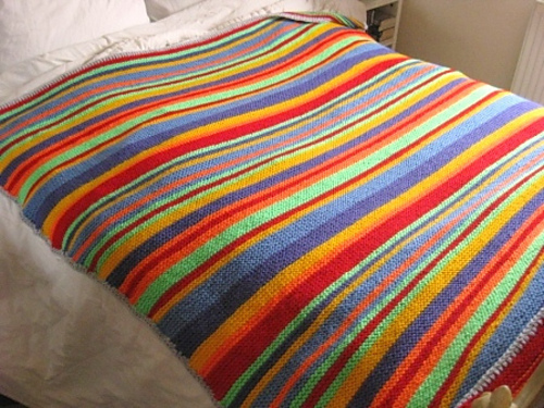 Knitting Pattern For Rainbow Blanket : Native Stripes Knit Blanket AllFreeKnitting.com