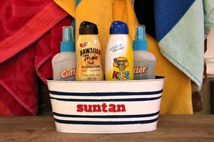 Upcycled Suntan Lotion and Bug Spray Container
