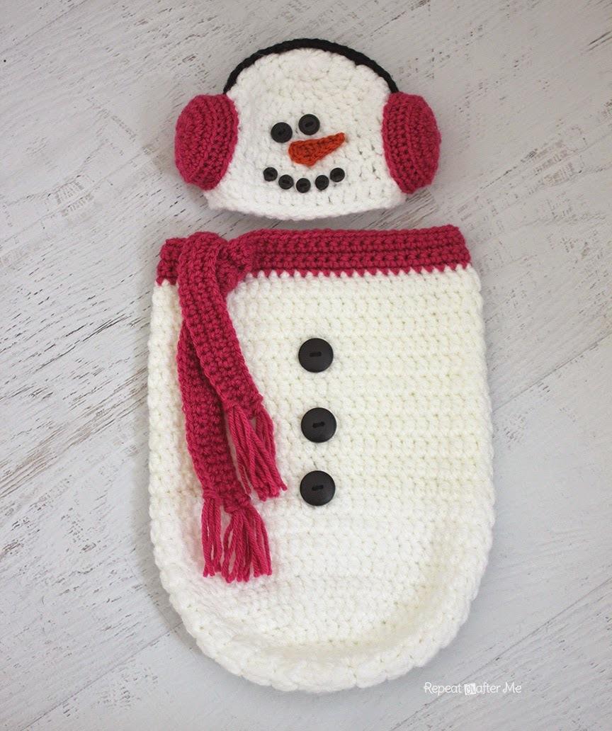 Crochet Snowman Hat And Cocoon Allfreecrochet