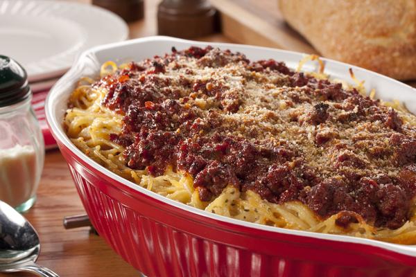 Baked Tuscan Spaghetti Casserole | MrFood.com