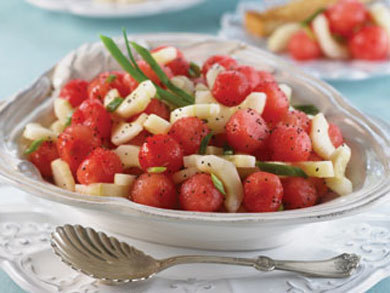 Sweet Sour Watermelon Cucumber Salad