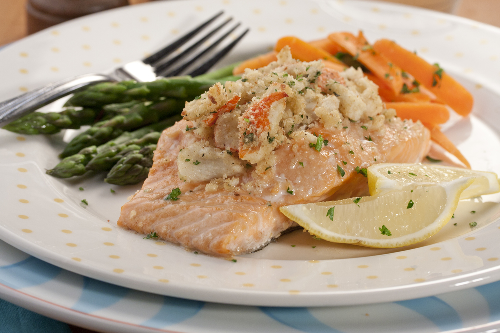 Crabmeat stuffed salmon for Stuffed fish with crab meat