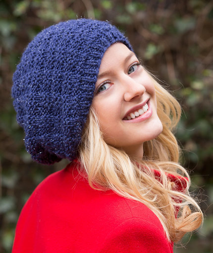 Basketweave Sparkle Knit Beanie Pattern | AllFreeKnitting.com