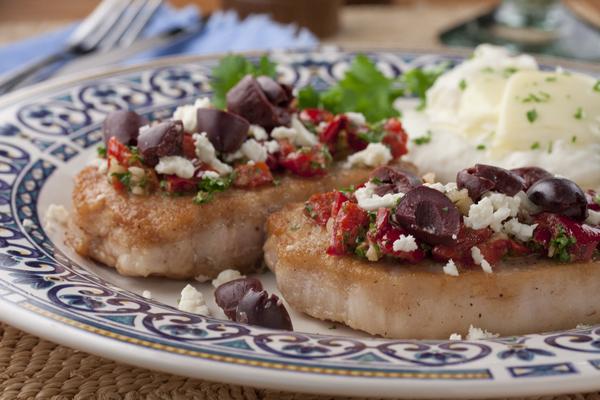 Greek Style Baked Pork Chops | MrFood.com