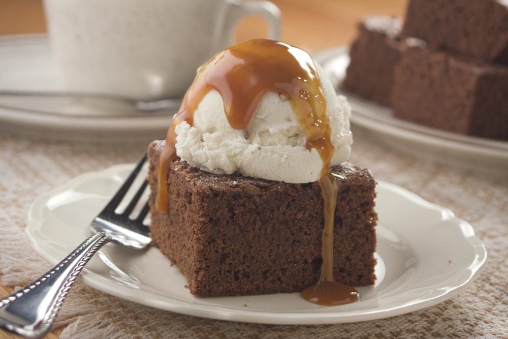 Caramel Coffee Brownies A la Mode | MrFood.com