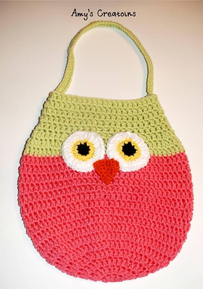 Crochet Pattern For Owl Bag : Adorable Crochet Owl Bag AllFreeCrochet.com