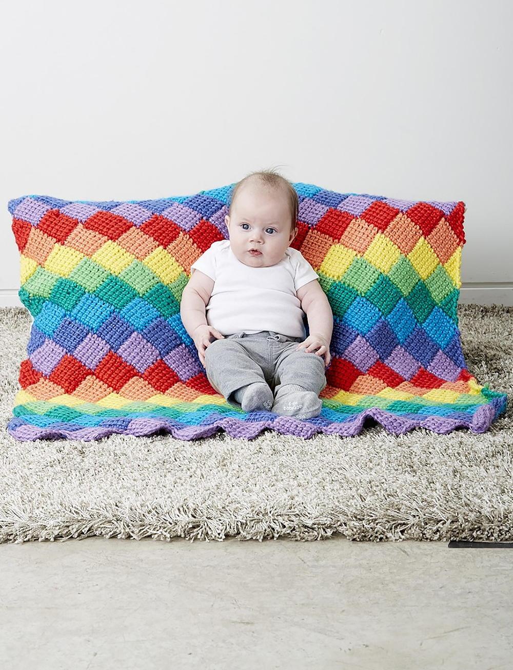 Rainbow Tunisian Entrelac Crochet Baby Blanket Pattern Allfreecrochet Com