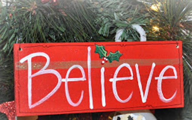 Wooden believe sign for Large outdoor christmas signs