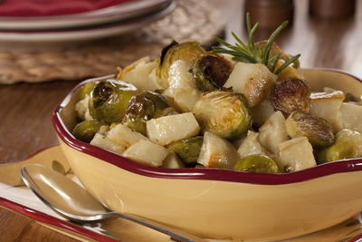 Roasted Idaho Potatoes and Brussels Sprouts
