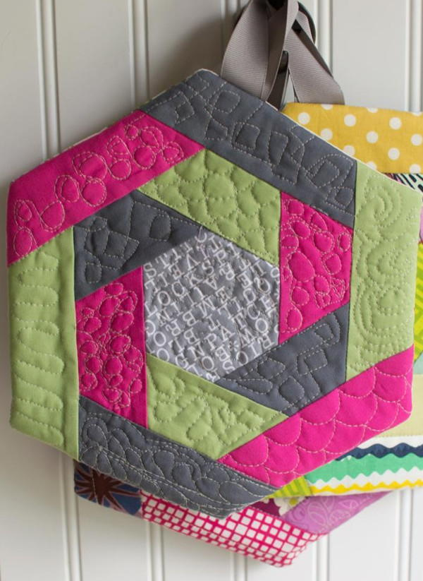 Hexi Log Cabin Potholders Favequilts Com