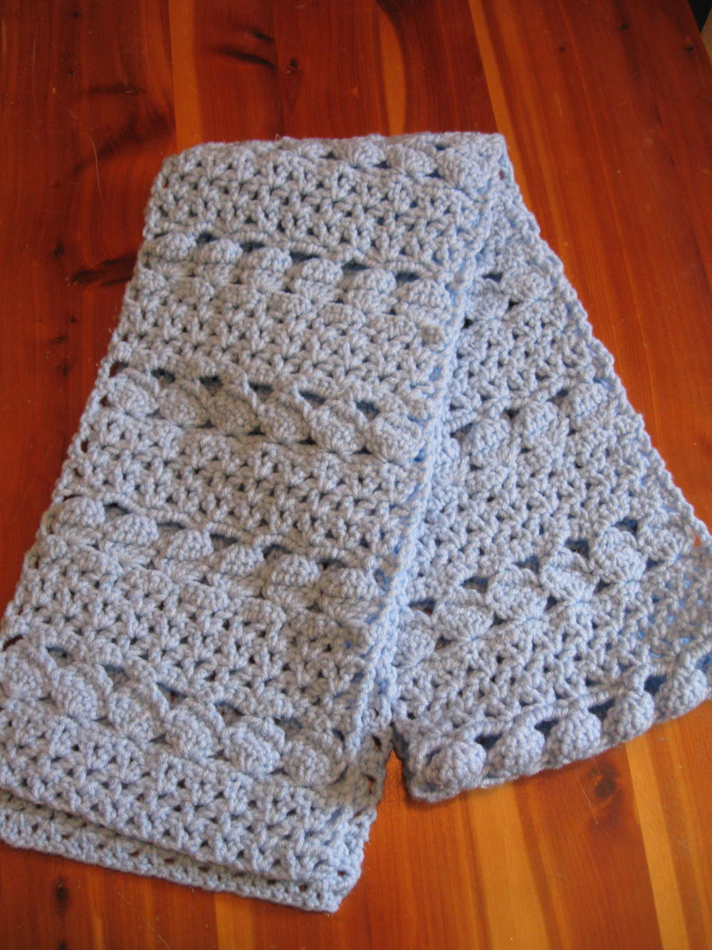 Crochet Scarf Pattern With Pictures : Cozy Blue Crochet Scarf AllFreeCrochet.com