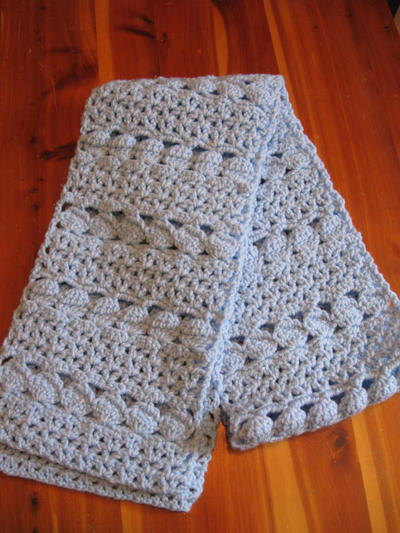 Crochet Pattern For Winter Shawl : Cozy Blue Crochet Scarf AllFreeCrochet.com