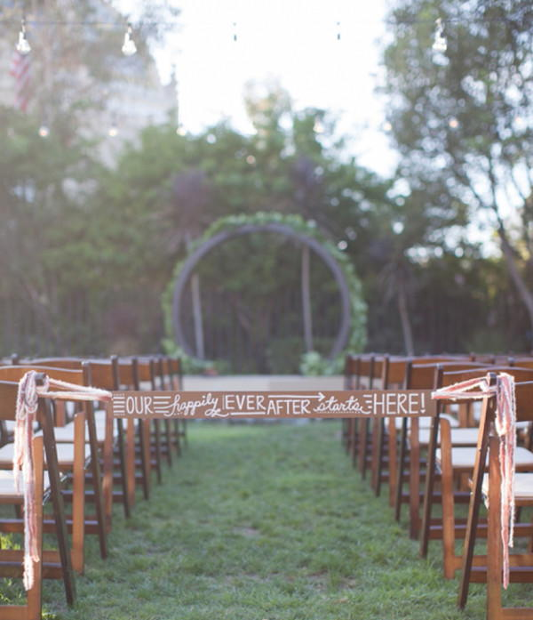 Wooden Ceremony Aisle Sign