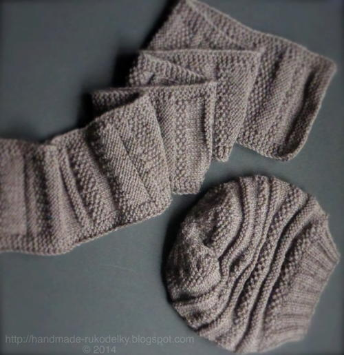 Easy Knitting Patterns For Hats And Scarves : Knitted Slouchy Hat and Scarf - Unisex AllFreeKnitting.com