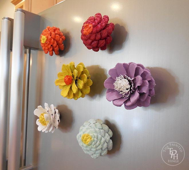 Pine cone flower refrigerator magnets for Crafts using pine cones